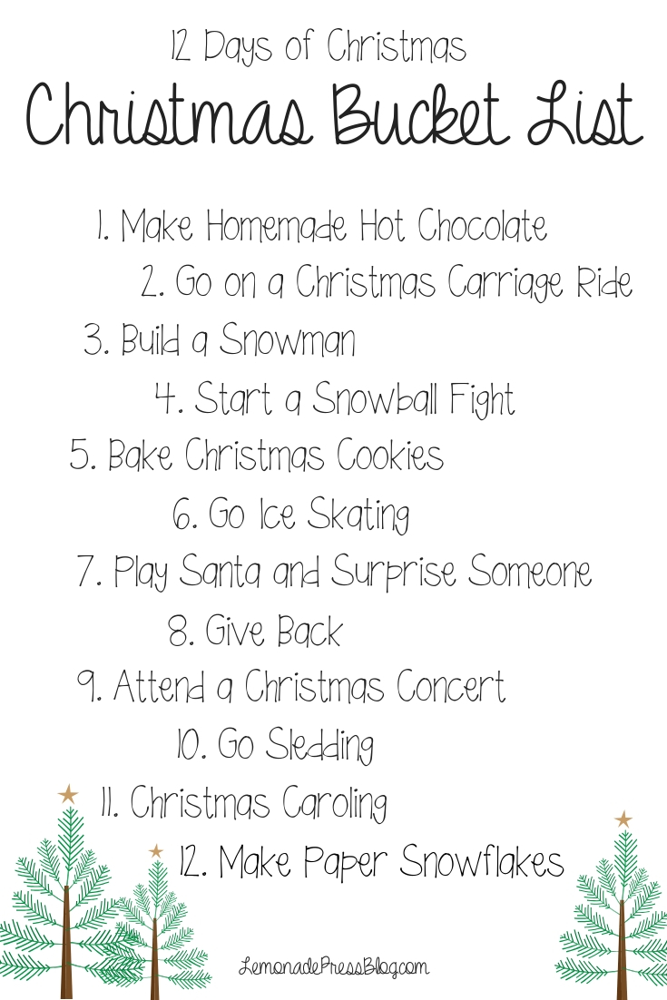 whats on your christmas bucket list this year